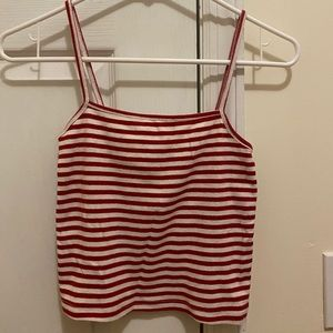 Brandy Melville Red and White Striped Faye Tank